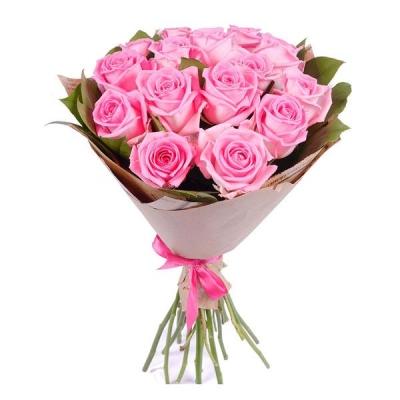 15 розовых роз (50 см)