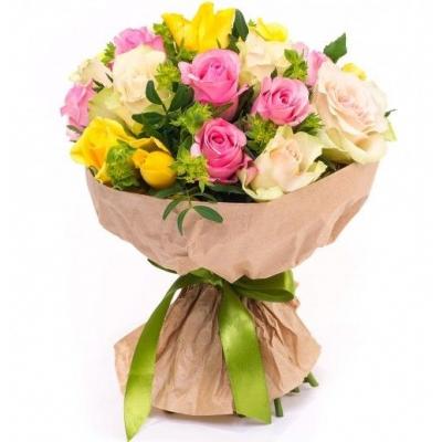 Букет из 21 розы микс (40см)