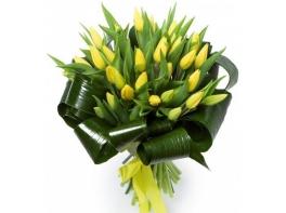 Букет из 29 желтых тюльпанов
