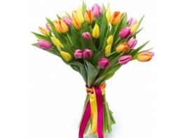 Букет из 35 тюльпанов с простыми атласными лентами