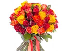 Букет из 71 розы Кения микс (40см)